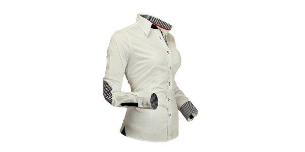 Dámská bílá košile s kostičkovanými detaily Pontto