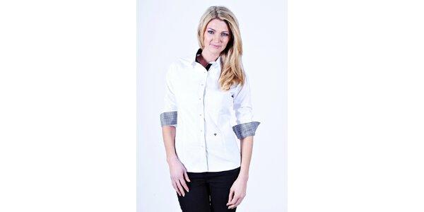 Dámská bílá košile Pontto s kostičkovanými manžetami