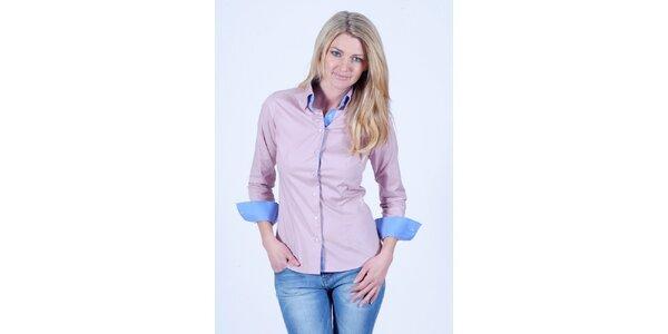 Dámská béžovo-růžová košile s modrými detaily Pontto