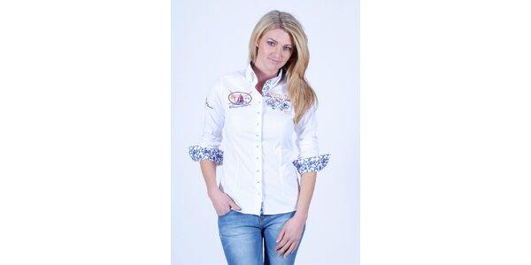 Dámská bílá košile s květinovým dekorem Pontto