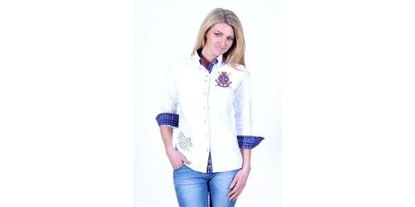 Dámská bílá košile s kostkovanými detaily Pontto