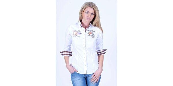 Dámská bílá košile s nášivkami Pontto