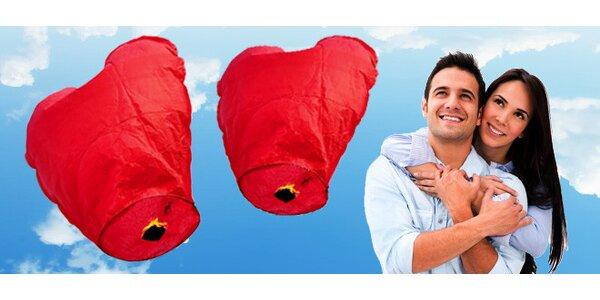 Valentýnské létající lampiony přání - set 2 kusů (tvar srdce, kvalitnější…