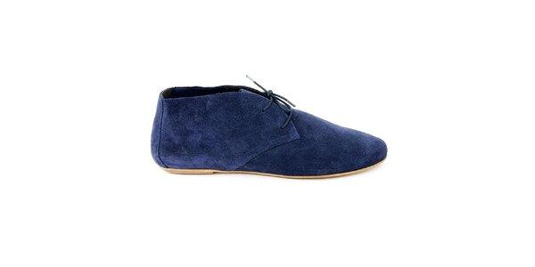 Dámské modré semišové kotníčkové boty Eye