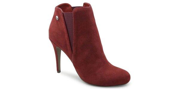 Dámské červené semišové kotníčkové boty na jehlovém podpatku Blink