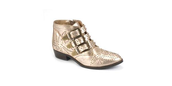 Dámské lesklé boty s přezkami Bronx