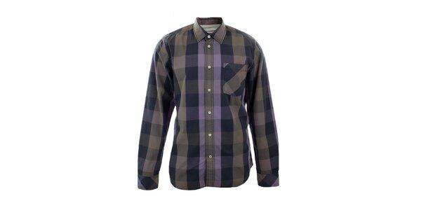 Pánská fialová kostkovaná košile Big Star