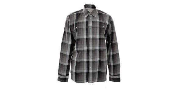 Pánská šedá kostkovaná košile Big Star