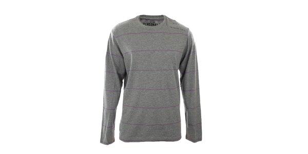 Pánské šedě melírované tričko s fialovým proužkem Big Star