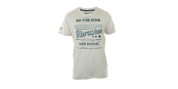 Pánské bílé tričko s tyrkysovým nápisem Big Star