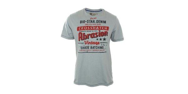 Pánské světle modré tričko s červeným nápisem Big Star