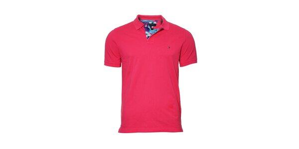 Pánské klasické tmavě růžové polo tričko Tommy Hilfiger