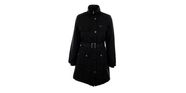Dámský černý kabát s páskem Big Star