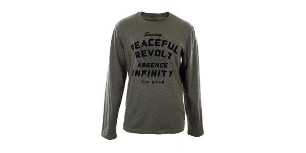 Pánské melírované tričko s dlouhým rukávem a potiskem Big Star