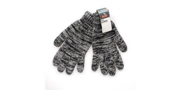 Šedo-černé žíhané rukavice Big Star