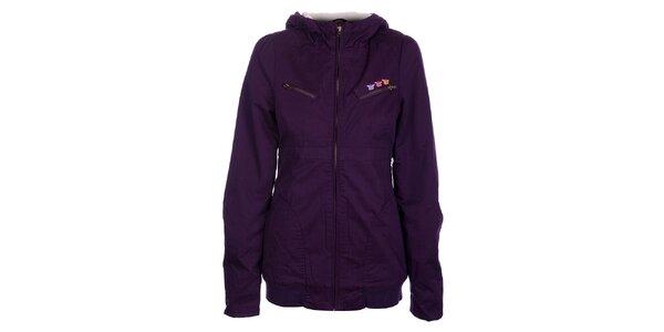 Dámský tmavě fialový kabátek Fundango s kožíškem