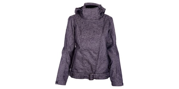 Dámská zimní tmavě šedá bunda Fundango s membránou a leopardím vzorem