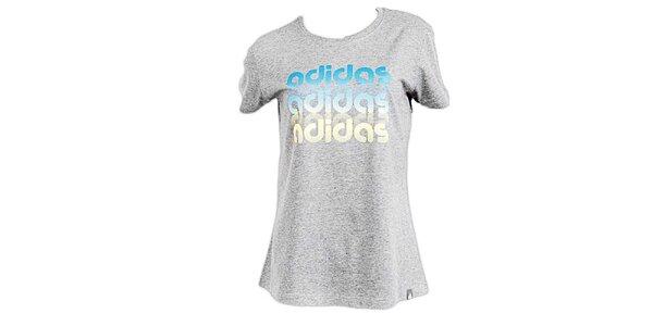 Dámské šedé tričko s potiskem Adidas
