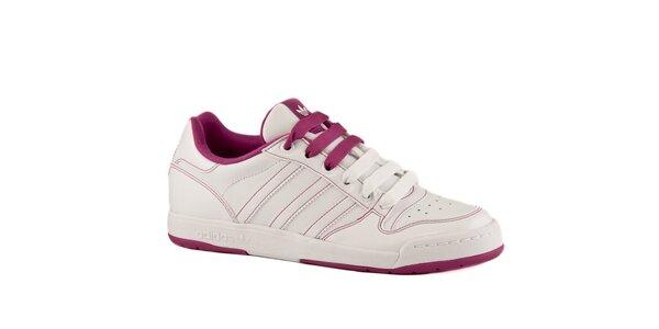Dámské bílé kožené tenisky Adidas s růžovými detaily