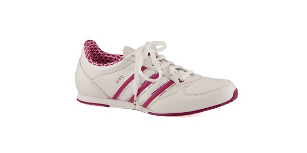 Dámské bílé kožené tenisky Adidas s růžovými proužky