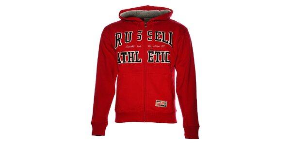 Pánská červená mikina Russell Athletic s kapucí