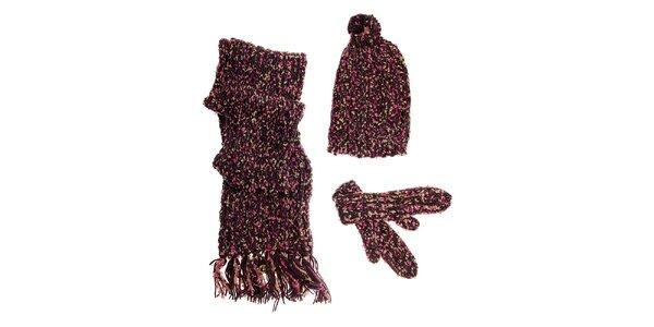 Dámský tmavě hnědý zimní pletený set Fundango s barevným melírem