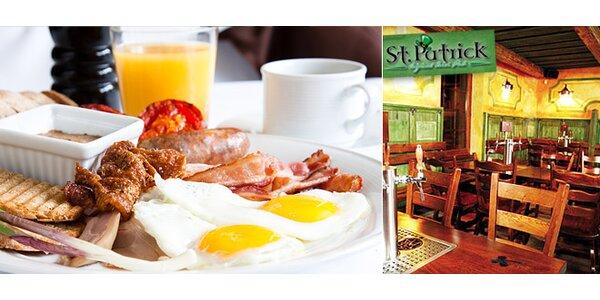 Originální irská snídaně - vydatné jídlo, džus a káva