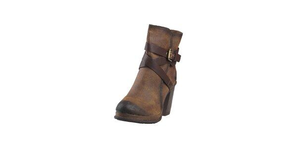 Dámské kávově hnědé kotníčkové boty s přezkou Ana Lublin