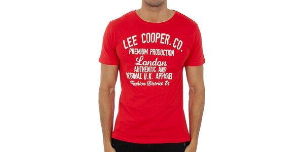 Pánské červené tričko s bílým potiskem Lee Cooper