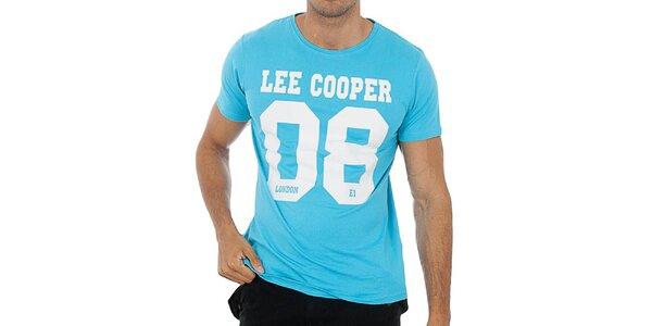 Pánské tyrkysově modré tričko s potiskem Lee Cooper