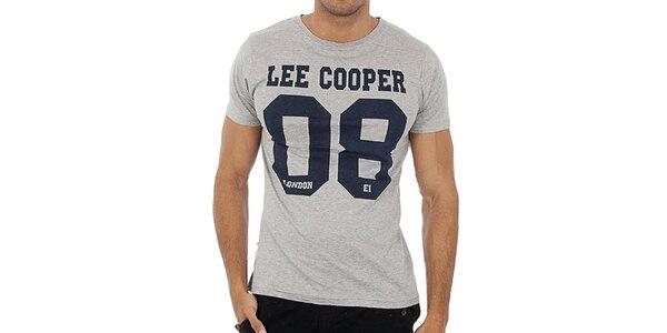 Pánské šedé tričko s potiskem Lee Cooper