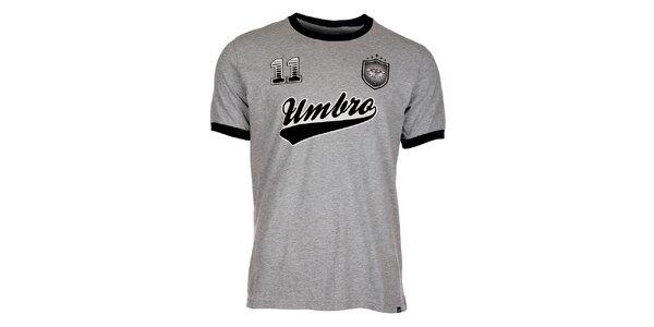 Pánské světle šedé melírované tričko Umbro s potiskem