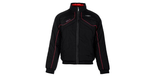 Pánská černá zimní prošívaná bunda Umbro s červenými detaily