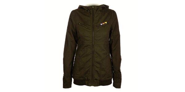 Dámský khaki kabátek Fundango s kožíškem