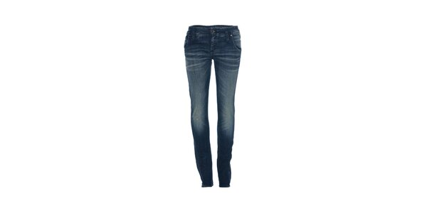 Dámské skinny džíny značky Gas v oprané modré barvě
