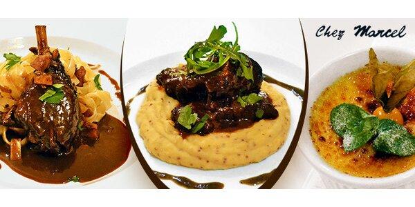 Francouzské speciality pro dva v restauraci Chez Marcel