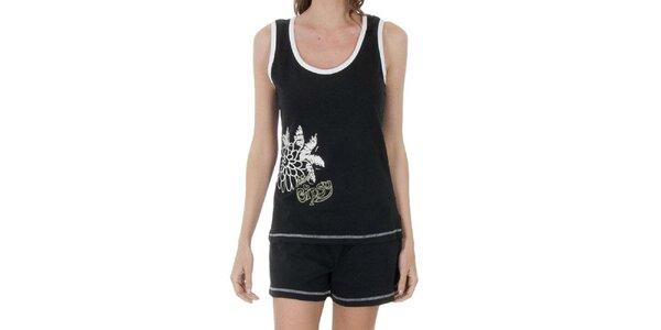 Dámské černé pyžamo s bílými detaily Cocodream