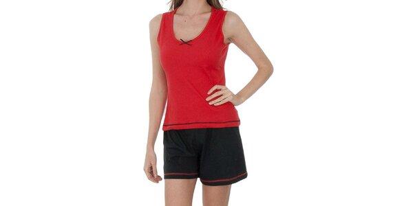Dámské červeno-černé pyžamo Admas - šortky a tílko