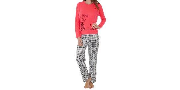 Dámský pyžamový set, růžové tričko - kostkované kalhoty Cocodream