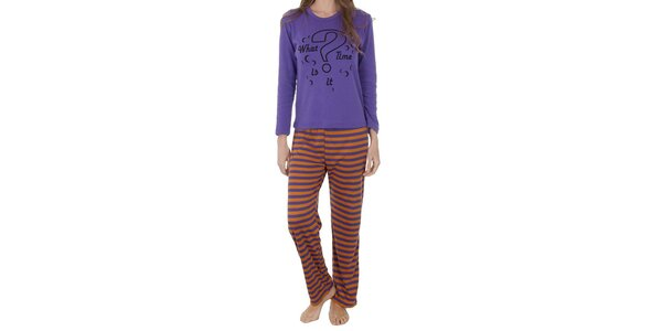 Dámské fialovo-oranžové pyžamo Cocodream s potiskem - kalhoty a tričko