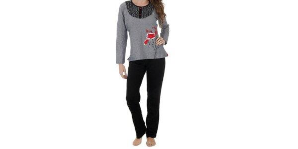 Dámské černo-bílé pyžamo Admas - kalhoty a tričko