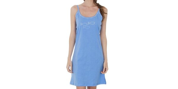 Dámská blankytně modrá noční košile s rybičkami Cocodream