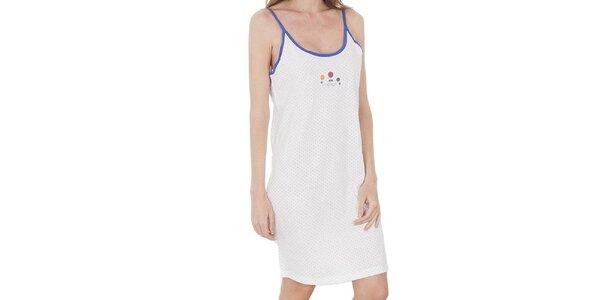 Dámská bílo-modrá noční košile Cocodream