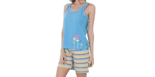 Dámské světle modré pyžamo Admas - šortky a tílko
