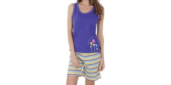 Dámské fialové pyžamo Cocodream - šortky a tílko