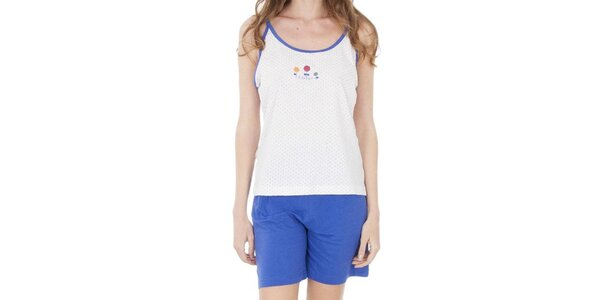 Dámské modro-bílé pyžamo - šortky a tílko Cocodream