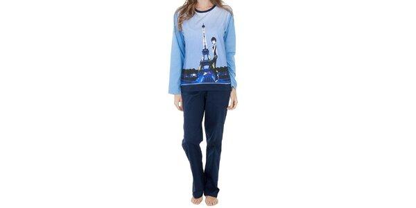 Dámský modrý bavlněný pyžamový set Marie Claire