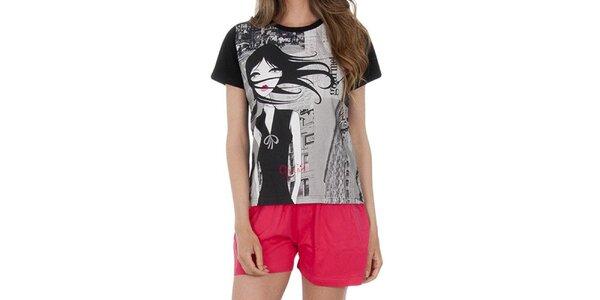 Dámský pyžamový set, černé tričko - melounové šortky Marie Claire