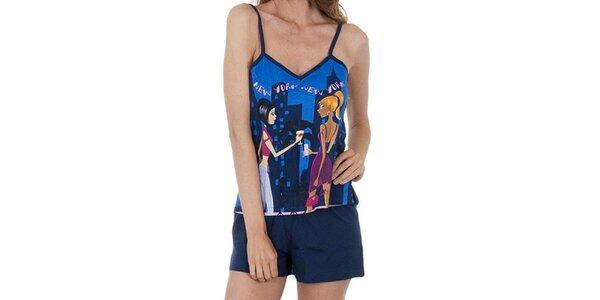 Dámské tmavě modré pyžamo s potiskem - tílko a šortky Marie Claire