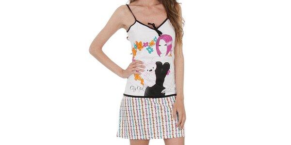 Dámská bílá noční košilka s potiskem Marie Claire